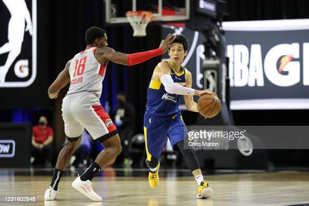 Jeremy Lin of the Santa Cruz Warriors handles the ball against the Rio Grande Valley Vipers during the NBA G League Playoffs on March 8, 2021 at HP...