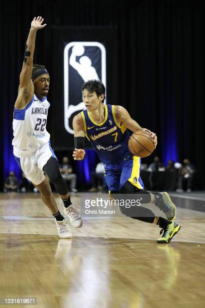 Jeremy Lin of the Santa Cruz Warriors handles the ball against the Lakeland Magic during the NBA G League Playoffs on March 9, 2021 at HP Field House...