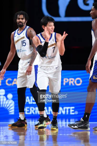 Jeremy Lin of the Santa Cruz Warriors reacts to a play during the game against the Erie BayHawks on March 2, 2021 at AdventHealth Arena in Orlando,...