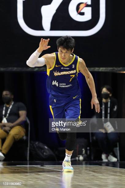 Jeremy Lin of the Santa Cruz Warriors reacts to play during the game on March 6, 2021 at HP Field House in Orlando, Florida. NOTE TO USER: User...