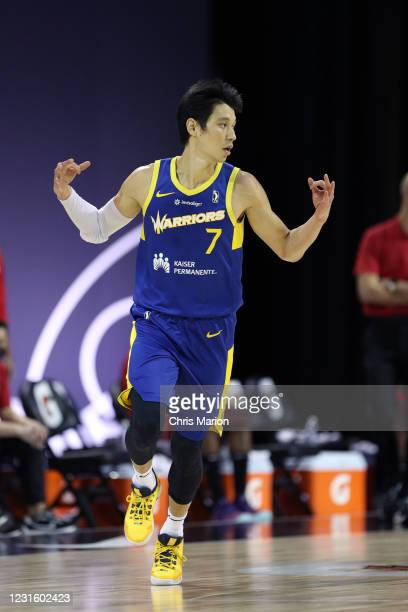 Jeremy Lin of the Santa Cruz Warriors reacts to three point basket during the NBA G League Playoffs on March 8, 2021 at HP Field House in Orlando,...