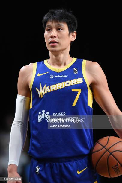 Jeremy Lin of the Santa Cruz Warriors shoots a free throw against the Fort Wayne Mad Ants on February 18, 2021 at AdventHealth Arena in Orlando,...