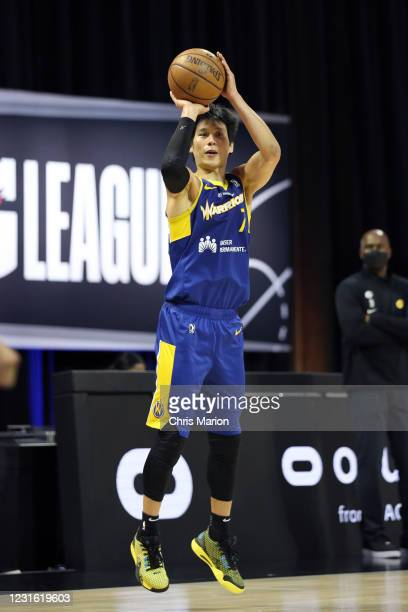 Jeremy Lin of the Santa Cruz Warriors shoots the ball against the Lakeland Magic during the NBA G League Playoffs on March 9, 2021 at HP Field House...
