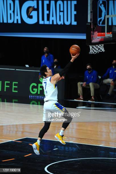 Jeremy Lin of the Santa Cruz Warriors shoots three point basket against the Raptors 905 on February 15, 2021 at AdventHealth Arena in Orlando,...
