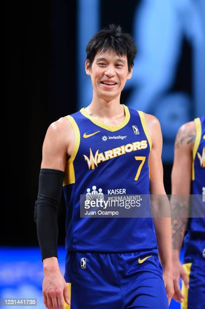 Jeremy Lin of the Santa Cruz Warriors smiles during the game against the Austin Spurs on February 28, 2021 at AdventHealth Arena in Orlando, Florida....