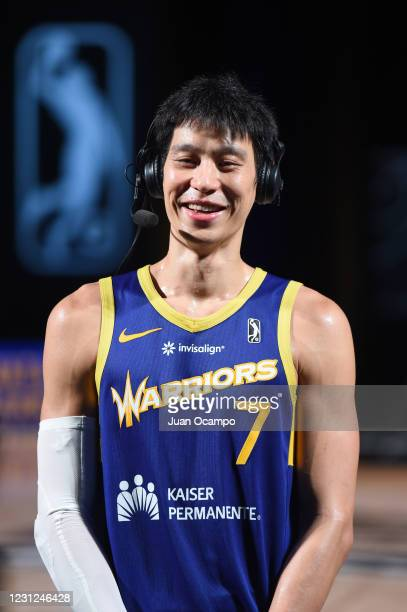 Jeremy Lin of the Santa Cruz Warriors speaks to the media after the game against the Fort Wayne Mad Ants on February 18, 2021 at AdventHealth Arena...