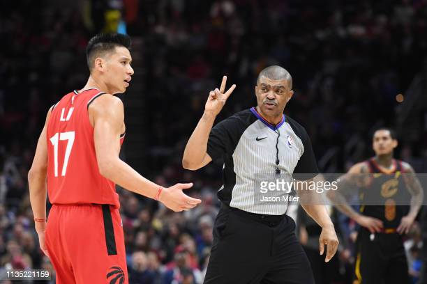 Jeremy Lin of the Toronto Raptors argues a call with referee Tony Brothers during the second half against the Cleveland Cavaliers at Quicken Loans...