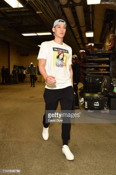 Jeremy Lin of the Toronto Raptors arrives for the game against the Philadelphia 76ers during Game Four of the Eastern Conference Semifinals of the...