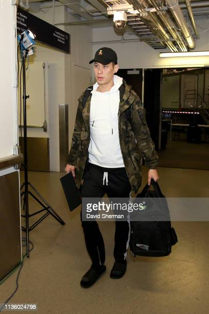 Jeremy Lin of the Toronto Raptors arrives to the arena before the game against the Minnesota Timberwolves on April 9 2019 at Target Center in...