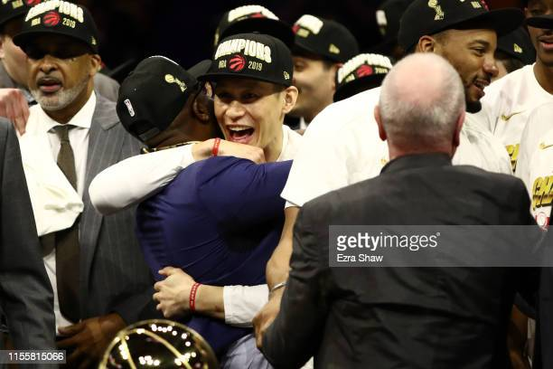 Jeremy Lin of the Toronto Raptors celebrates his teams win over the Golden State Warriors in Game Six to win the 2019 NBA Finals at ORACLE Arena on...