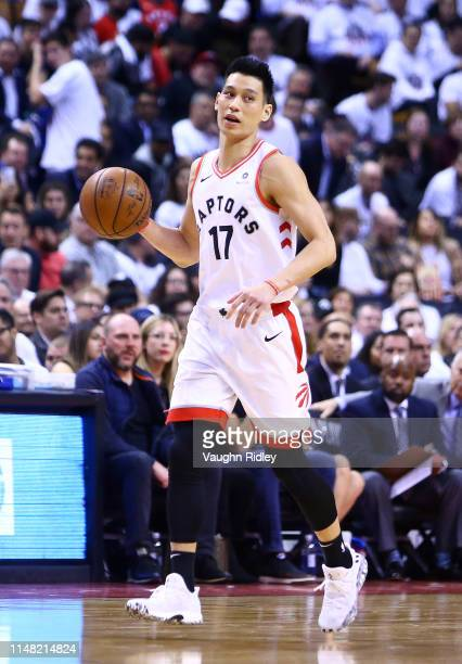 Jeremy Lin of the Toronto Raptors dribbles the ball during Game Five of the second round of the 2019 NBA Playoffs against the Philadelphia 76ers at...