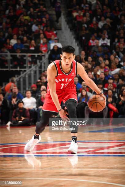 Jeremy Lin of the Toronto Raptors dribbles the ball during the game against the Detroit Pistons on March 3 2019 at Little Caesars Arena in Detroit...