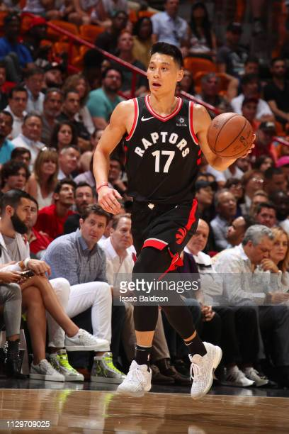 Jeremy Lin of the Toronto Raptors dribbles the ball during the game against the Miami Heat on March 10 2019 at American Airlines Arena in Miami...
