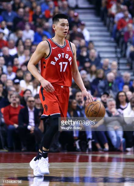 Jeremy Lin of the Toronto Raptors dribbles the ball during the second half of an NBA game against the Washington Wizards at Scotiabank Arena on...
