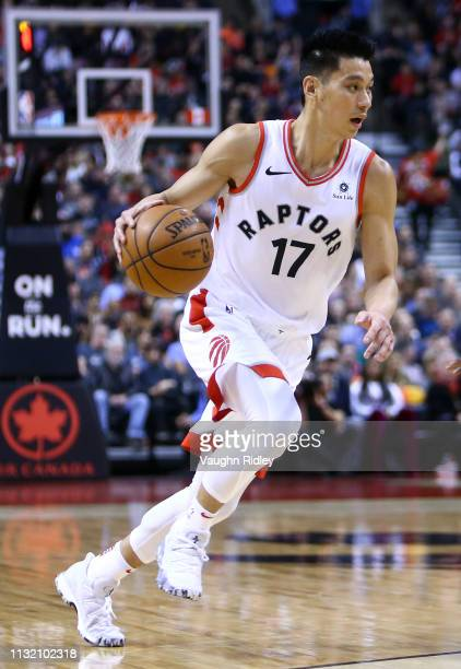 Jeremy Lin of the Toronto Raptors dribbles the ball during the second half of an NBA game against the Orlando Magic at Scotiabank Arena on February...