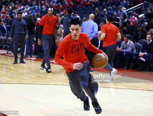Jeremy Lin of the Toronto Raptors dribbles the ball during warm up prior to Game Two of the first round of the 2019 NBA Playoffs against the Orlando...