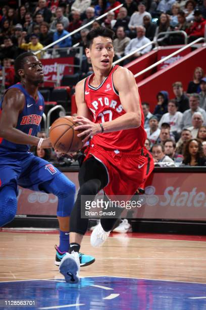 Jeremy Lin of the Toronto Raptors drives to the basket against the Detroit Pistons on March 3 2019 at Little Caesars Arena in Detroit Michigan NOTE...