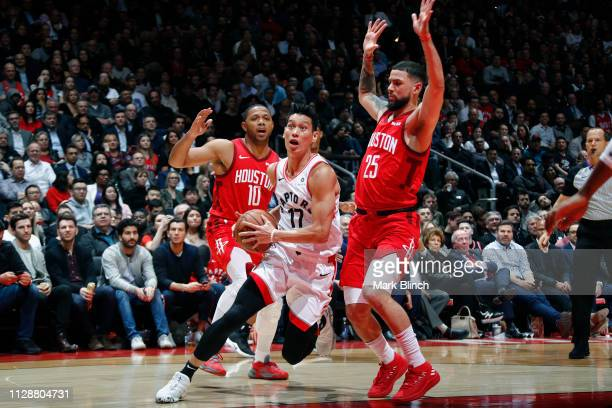 Jeremy Lin of the Toronto Raptors drives to the basket against the Houston Rockets on March 5 2019 at Scotiabank Arena in Toronto Ontario Canada NOTE...