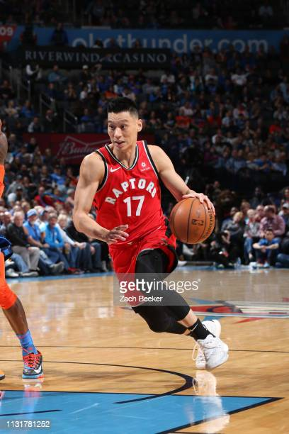 Jeremy Lin of the Toronto Raptors drives to the basket against the Oklahoma City Thunder on March 20 2019 at Chesapeake Energy Arena in Oklahoma City...