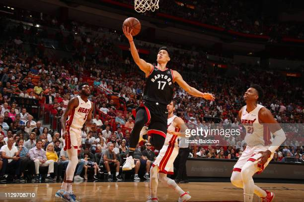 Jeremy Lin of the Toronto Raptors drives to the basket during the game against the Miami Heat on March 10 2019 at American Airlines Arena in Miami...
