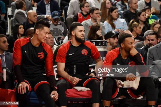 Jeremy Lin of the Toronto Raptors Fred VanVleet of the Toronto Raptors and Norman Powell of the Toronto Raptors seen on the bench during the game...