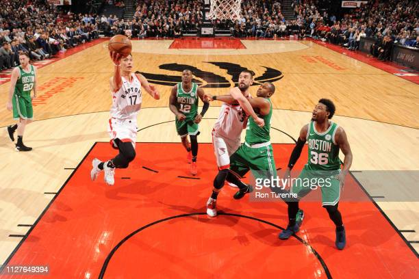 Jeremy Lin of the Toronto Raptors goes to the basket against the Boston Celtics on February 26 2019 at the Scotiabank Arena in Toronto Ontario Canada...
