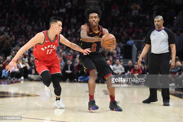 Jeremy Lin of the Toronto Raptors guards Collin Sexton of the Cleveland Cavaliers during the second half at Quicken Loans Arena on March 11 2019 in...