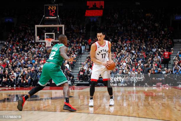 Jeremy Lin of the Toronto Raptors handles the ball against the Boston Celtics on February 26 2019 at the Scotiabank Arena in Toronto Ontario Canada...