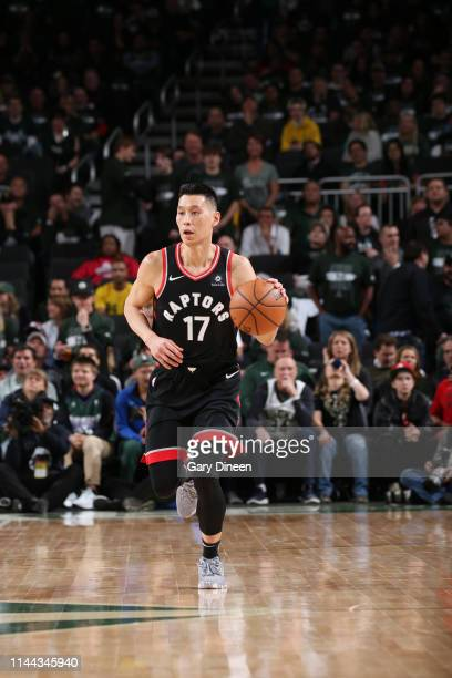 Jeremy Lin of the Toronto Raptors handles the ball against the Milwaukee Bucks during Game Two of the Eastern Conference Finals on May 17 2019 at the...