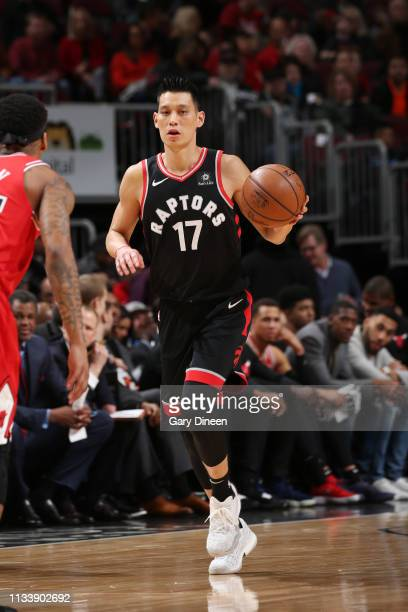 Jeremy Lin of the Toronto Raptors handles the ball against the Chicago Bulls on March 30 2019 at the United Center in Chicago Illinois NOTE TO USER...