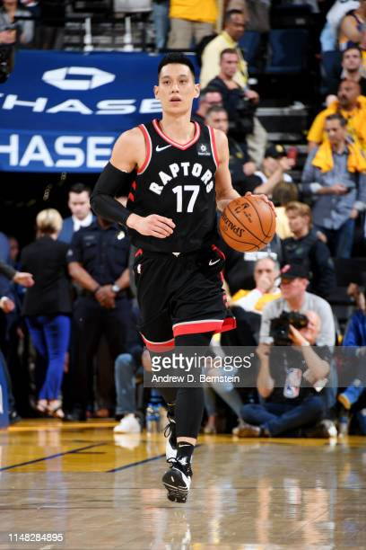 Jeremy Lin of the Toronto Raptors handles the ball against the Golden State Warriors during Game Three of the NBA Finals on June 5 2019 at ORACLE...