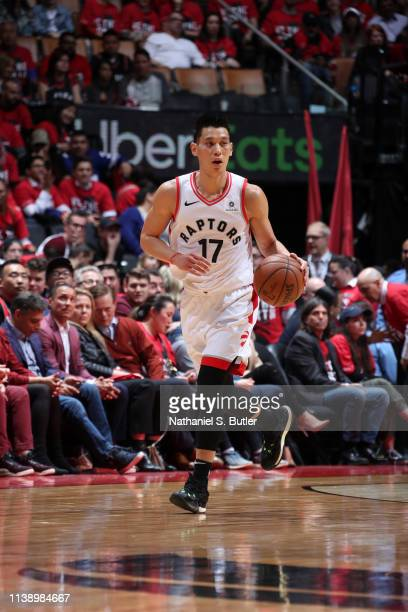 Jeremy Lin of the Toronto Raptors handles the ball against the Orlando Magic during Game Five of Round One of the 2019 NBA Playoffs on April 23 2019...