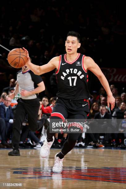 Jeremy Lin of the Toronto Raptors handles the ball against the New York Knicks on March 28 2019 at Madison Square Garden in New York City New York...