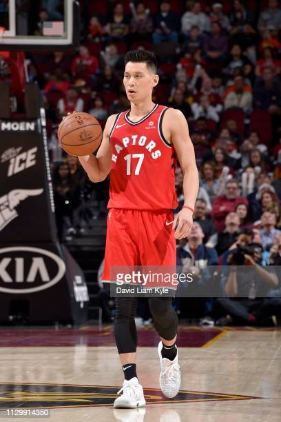Jeremy Lin of the Toronto Raptors handles the ball during the game against the Cleveland Cavaliers on March 11 2019 at Quicken Loans Arena in...