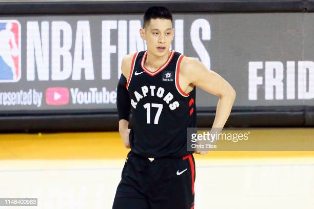Jeremy Lin of the Toronto Raptors looks on against the Golden State Warriors during Game Three of the NBA Finals on June 5 2019 at ORACLE Arena in...