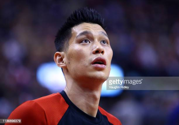 Jeremy Lin of the Toronto Raptors looks on during warm up prior to the first half of an NBA game against the New York Knicks at Scotiabank Arena on...