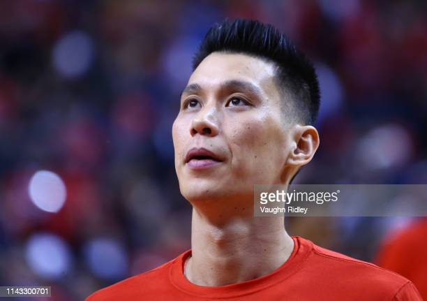 Jeremy Lin of the Toronto Raptors looks on during warm up prior to Game Two of the first round of the 2019 NBA Playoffs against the Orlando Magic at...