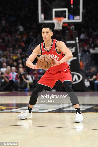 Jeremy Lin of the Toronto Raptors passes during the first half against the Cleveland Cavaliers at Quicken Loans Arena on March 11 2019 in Cleveland...
