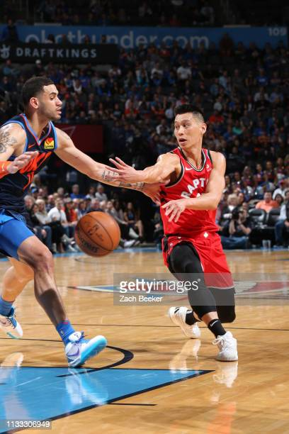 Jeremy Lin of the Toronto Raptors passes the ball against the Oklahoma City Thunder on March 20 2019 at Chesapeake Energy Arena in Oklahoma City...