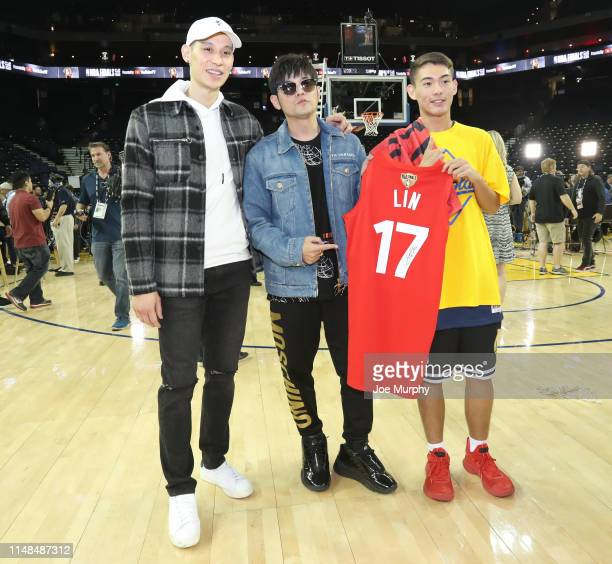 Jeremy Lin of the Toronto Raptors poses for a photo with Jay Chou after Game Four of the NBA Finals against the Golden State Warriors on June 7, 2019...