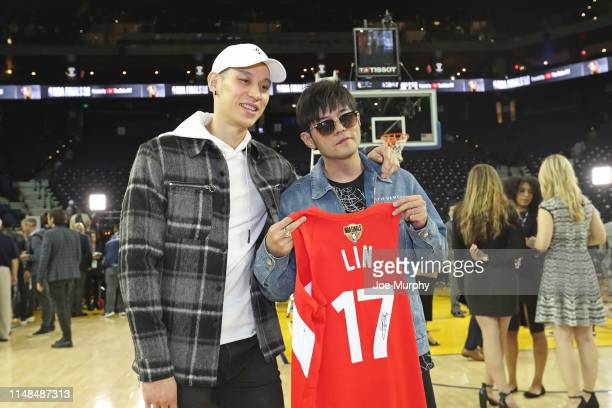 Jeremy Lin of the Toronto Raptors poses for a photo with Jay Chou after Game Four of the NBA Finals against the Golden State Warriors on June 7 2019...