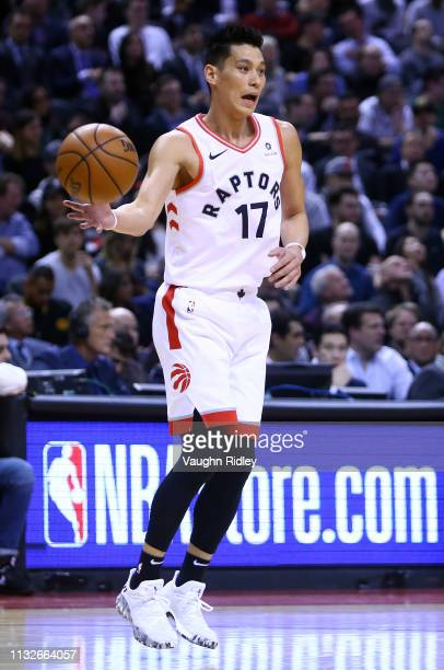 Jeremy Lin of the Toronto Raptors receives a pass during the first half of an NBA game against the Boston Celtics at Scotiabank Arena on February 26...