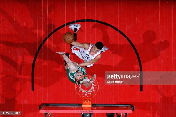 Jeremy Lin of the Toronto Raptors shoots the ball against the Boston Celtics on February 26 2019 at the Scotiabank Arena in Toronto Ontario Canada...