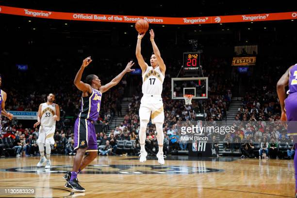 Jeremy Lin of the Toronto Raptors shoots the ball against the Los Angeles Lakers on March 14 2019 at the Scotiabank Arena in Toronto Ontario Canada...