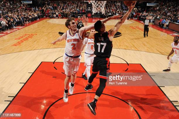 Jeremy Lin of the Toronto Raptors shoots the ball against the New York Knicks on March 18 2019 at the Scotiabank Arena in Toronto Ontario Canada NOTE...