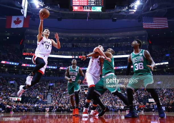 Jeremy Lin of the Toronto Raptors shoots the ball during the first half of an NBA game against the Boston Celtics at Scotiabank Arena on February 26...