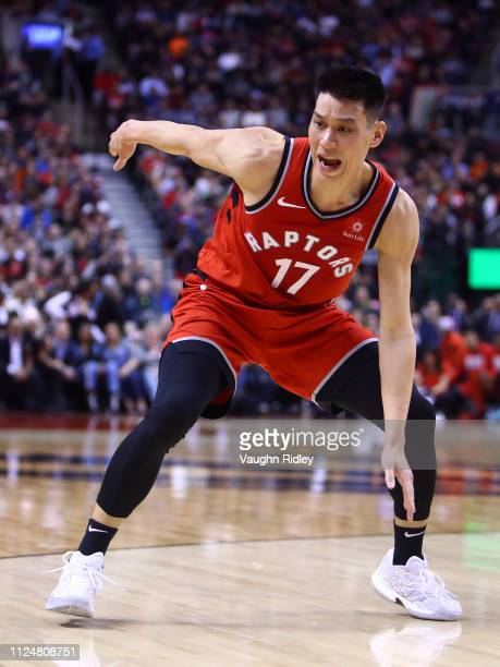 Jeremy Lin of the Toronto Raptors shouts for the ball during the second half of an NBA game against the Washington Wizards at Scotiabank Arena on...