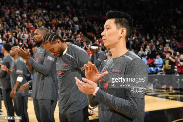 Jeremy Lin of the Toronto Raptors stands for the National Anthem prior to the game against the Portland Trail Blazers on March 1 2019 at the...