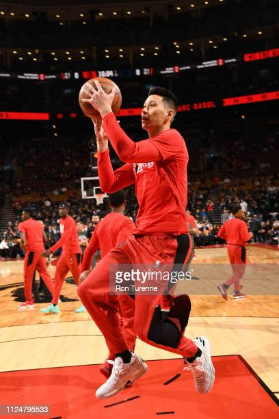 Jeremy Lin of the Toronto Raptors warms up before the game against the Washington Wizards on February 13 2019 at the Scotiabank Arena in Toronto...