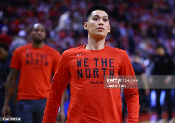 Jeremy Lin of the Toronto Raptors warms up prior to Game One of the first round of the 2019 NBA playoffs against the Orlando Magic at Scotiabank...